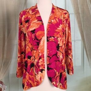 Chico's Addition Floral Open Jacket
